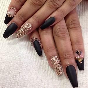 Black N' Gold Squoval Nails | ♥Nails♥ | Pinterest