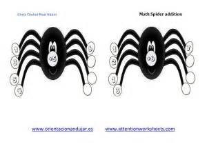 math  fun math spiders  addition attention worksheets