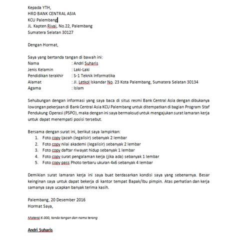 Lamaran Kerja Docx by 5 Contoh Surat Lamaran Kerja Bank Bca Docx Tinggal Edit