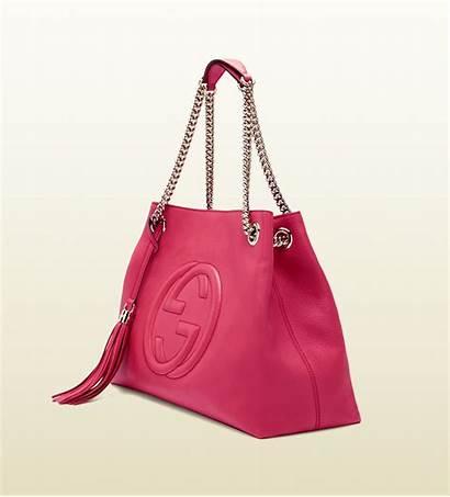 Gucci Pink Bag Leather Shoulder Soho Shocking