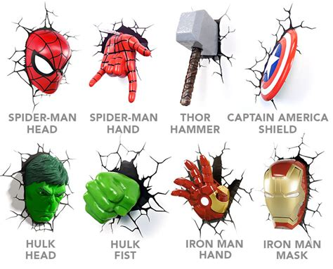 marvel avengers 3d wall lights lighting and ceiling fans