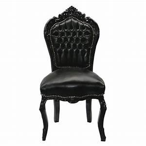 chaise baroque noir cuir louis xv simili cuir noir salle a With salle À manger contemporaineavec chaise cuir noir
