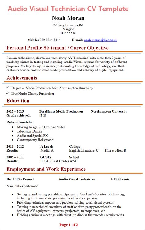 audio visual technician cv template 1