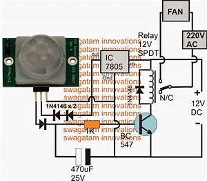 Pir Controlled Fan Circuit For Schools And Colleges