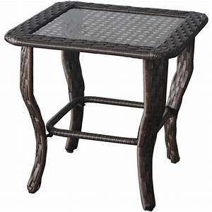 glass top side wicker table outdoor patio porch garden With glass top patio coffee table