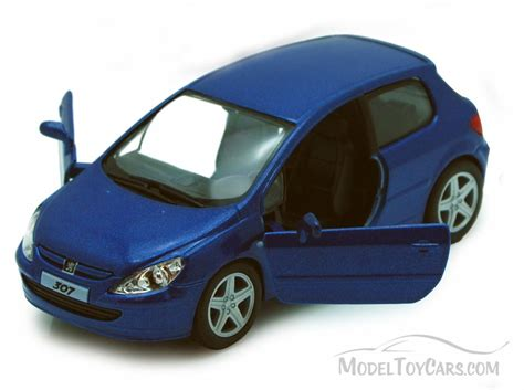 car toy blue peugeot 307 xsi silver blue kinsmart 5079d 1 32 scale