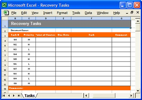 disaster recovery templates  page ms word  excel