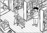 Coloring Grocery Supermarket Colorear Dibujos Supermercado Pintar Ciudad Supermercados Campo Boerderij Kleurplaat Imagui Paisajes Melk Superb Voorschoolse Pusheen Tiendas Kleurplaten sketch template