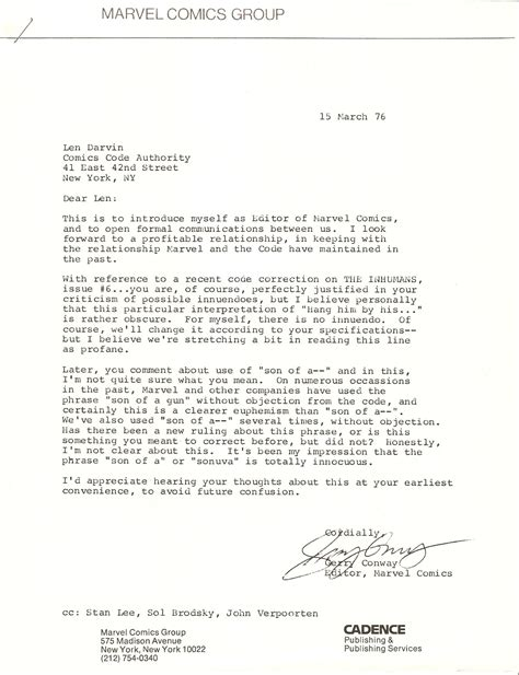 cordially end of letter cordially end of letter cordially end of letter 20971 | GerryConwayComicsCodeLetter1