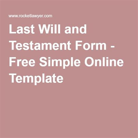 Simple Will Template Last Will And Testament Form Free Simple Template