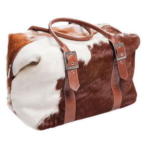 Cowhide Overnight Bag - cowhide overnight bag weekend bag in brown and white