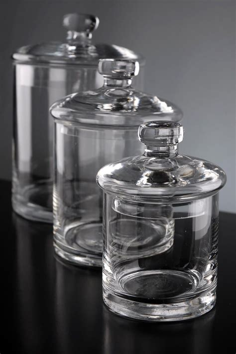 clear glass canisters for kitchen set of 3 clear glass apothecary canister jars 5 quot 7 quot 9