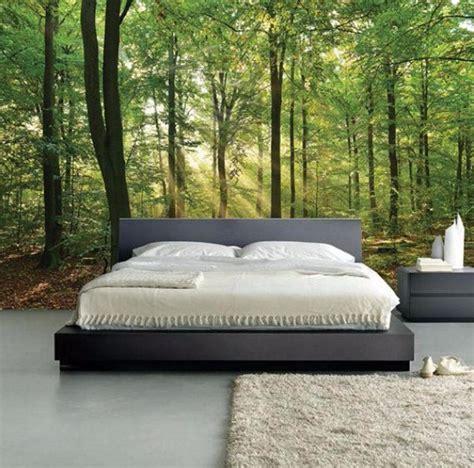 whimsical master bedrooms  forest wallpaper master