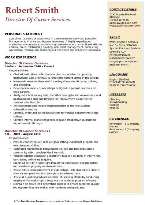 Career Services Psu Resume by Director Of Career Services Resume Sles Qwikresume