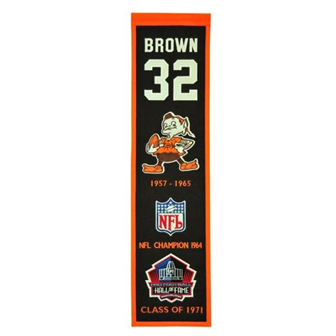browns jim brown heritage banner pro football hall