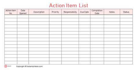 action items template  excel    list