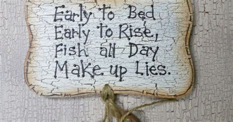 fishing sign wooden fish sign early  bed early  rise