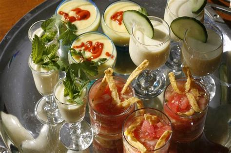 chilled soups serve  summer appetizers  small glasses