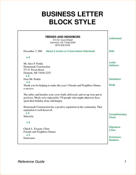 business letter block style letters format