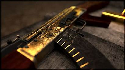 47 Ak Gold Guns Ak47 Gun Wallpapers