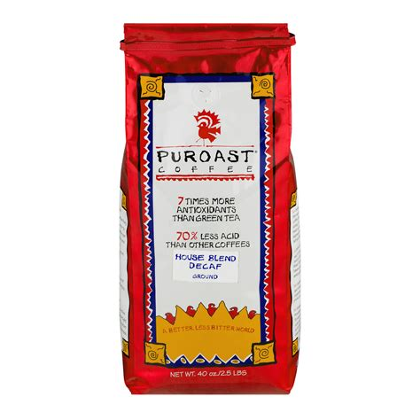 Puroast coffee is clear about their claim to fame: Puroast Decaf House Blend Low Acid Ground Coffee, 40 oz Bag - Walmart.com - Walmart.com