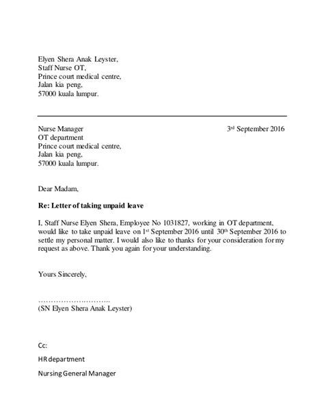 unpaid leave letter