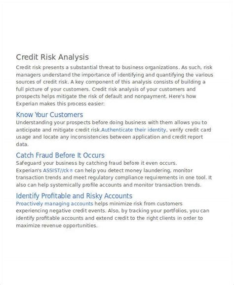 Each example of the credit risk states the topic, the relevant reasons, and additional comments as needed. 42+ Free Analysis Templates | Free & Premium Templates