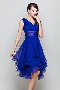 Robe Demoiselle D Honneur Bleu : robe demoiselle d honneur courte bleu royale d collet e en ~ Melissatoandfro.com Idées de Décoration