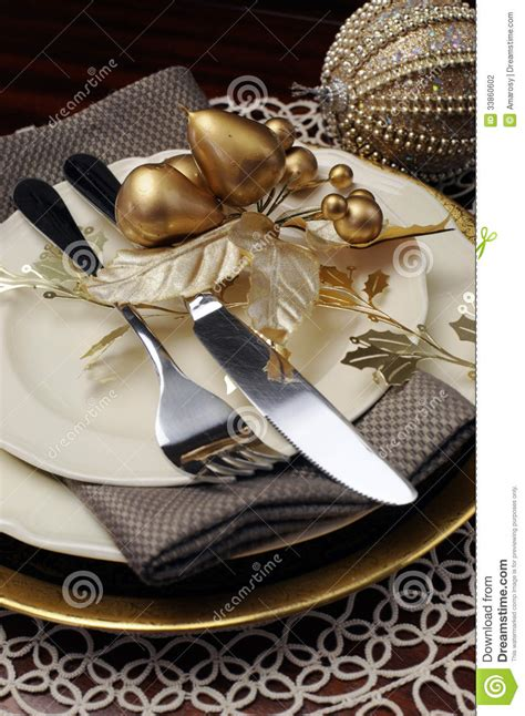Elegant Christmas Table Decorations by Gold Theme Christmas Dinner Table Setting Close Up On