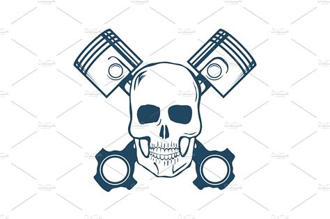 Skull And Pistons. T-shirt Graphic