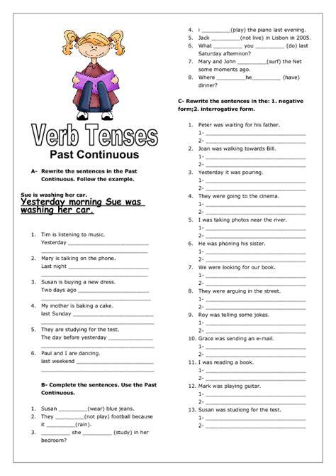 verb tenses  continuous ii worksheet