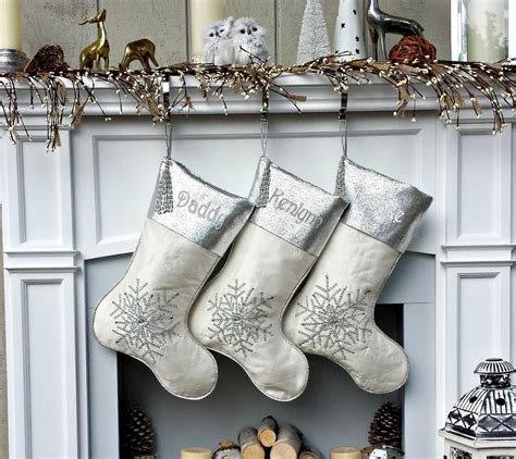 white silver snowflake personalized - Silver And White Christmas Stockings