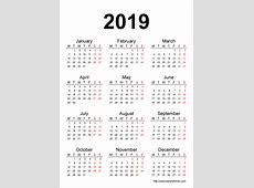root 2019 2018 Calendar Printable with holidays list