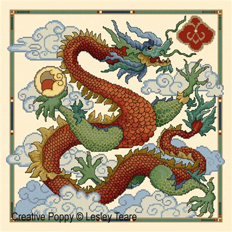 lesley teare designs chinese dragon cross stitch pattern