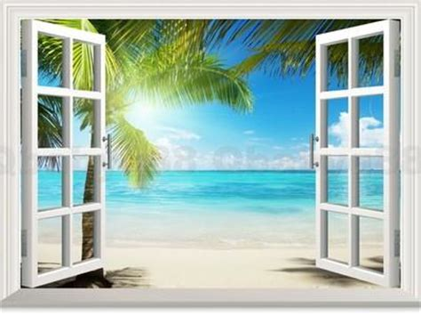 large sunshine beach palm tree  window view removable