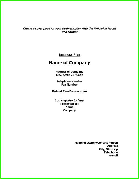 show  cover page business plan ver letter sample