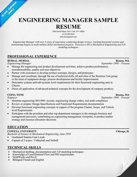 engineering manager sample resume sample resume