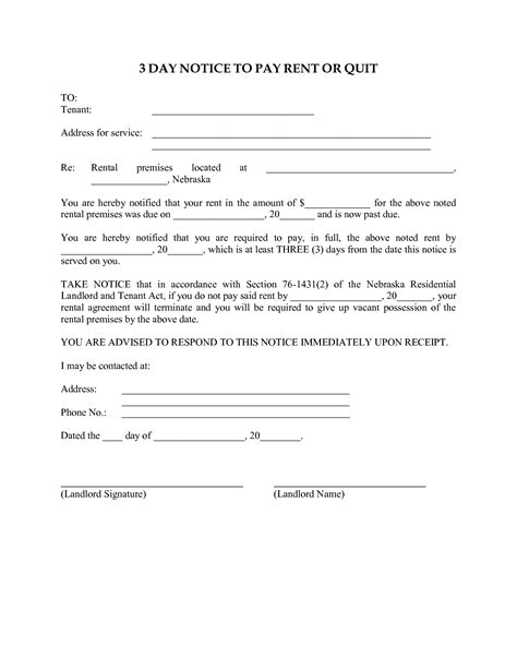 3 day notice to pay or quit template 10 best images of 3 day eviction notice to pay or quit 3 day notice to pay or vacate 3