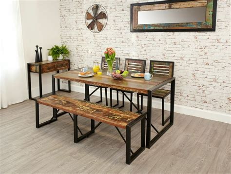 Dining Room Table With Bench And Chairs by Kuredu Reclaimed Wood Furniture Dining Table Two Chairs