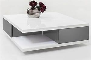 Table Grise Et Blanche : table basse carr e blanc et gris le bois chez vous ~ Teatrodelosmanantiales.com Idées de Décoration
