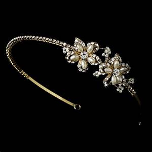 Golden Rhinestone Adored Headband With Ivory Side Accents