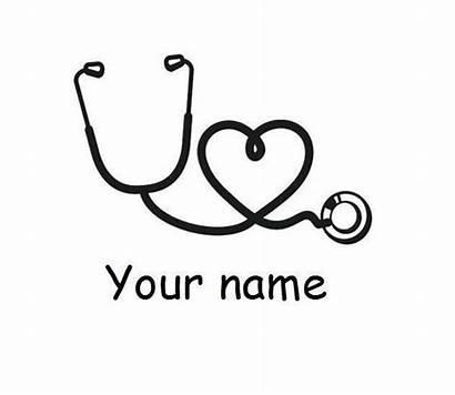 Stethoscope Nurse Vinyl Personalized Cricut Heart Monogram