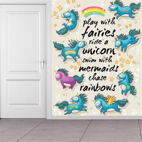 unicorn quote wall mural rainbow wallpaper girls bedroom