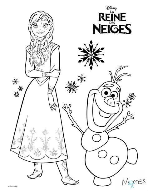 Coloriage Reine Des Neiges  Anna Et Olaf Momesnet