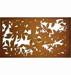 Paravent 200 Cm Hoch : metall sichtschutz rostig mit blattwerk motiv 200 cm x 100 cm ~ Bigdaddyawards.com Haus und Dekorationen