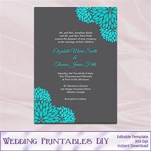 Teal and gray wedding invitations template diy printable for Wedding invitation sample word document