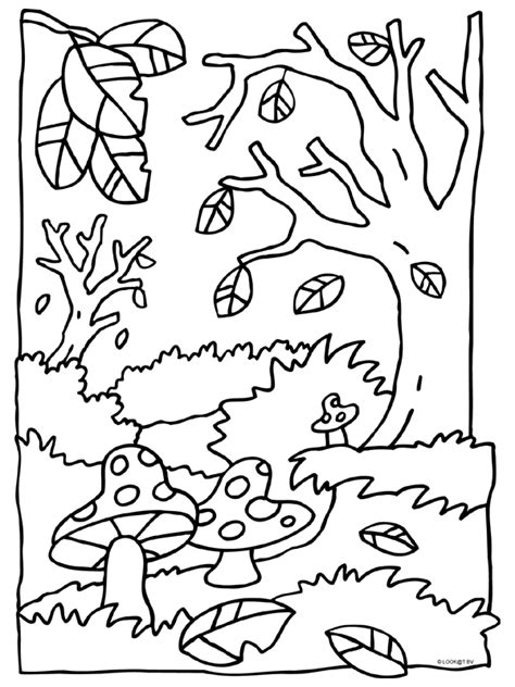 Kleurplaat En De Herfst kleurplaat herfst paddestoelen kleurplaten nl thema