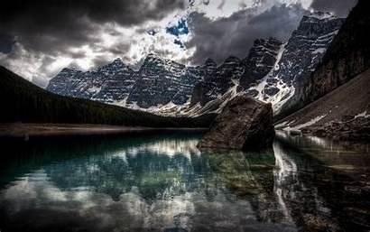 Lake Moraine Canada Alberta Mountain Water Desktop