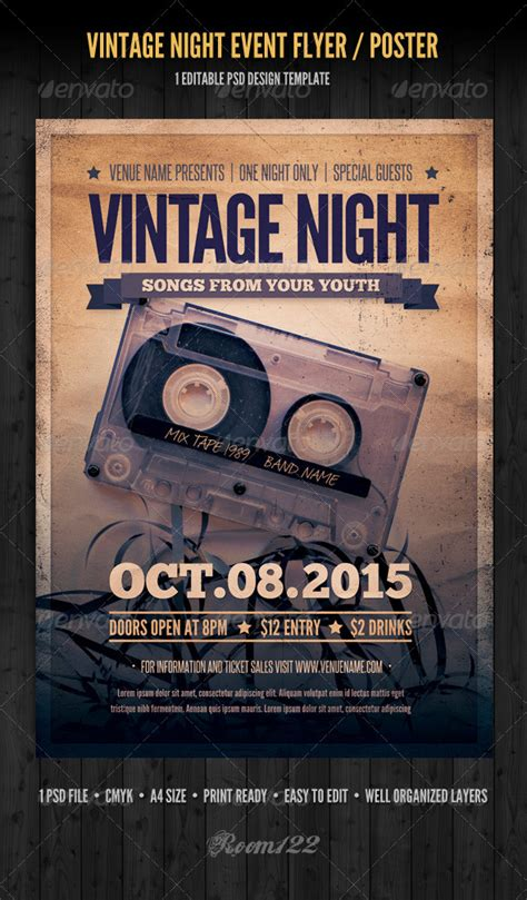 vintage night event flyer poster  graphicmonkee