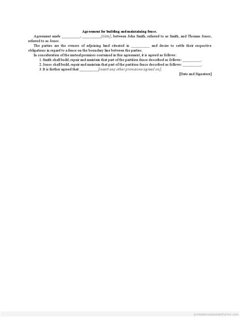 common fence agreement form template printable